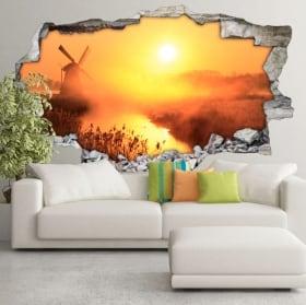 Vinyls 3d sunset windmill holland