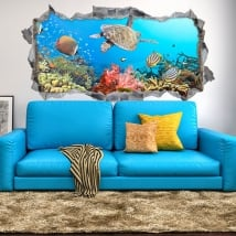 Vinyl 3d fish and turtle in the sea