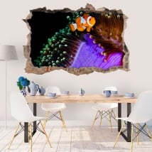 Wall murals clownfish and anemone 3d