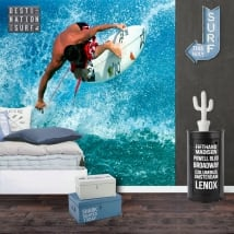 Wall murals of vinyl surfer on the wave