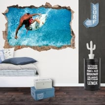 Decorative vinyl 3d surfer on the wave