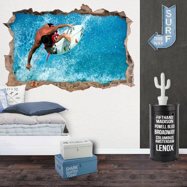 Decorative vinyl 3d surfer on the wave