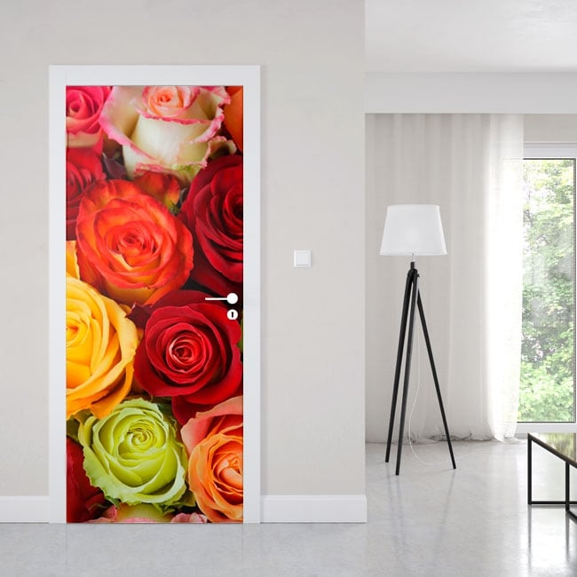 Vinyl for doors colorful roses