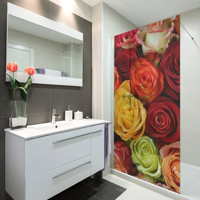 Vinyl for screens colorful roses
