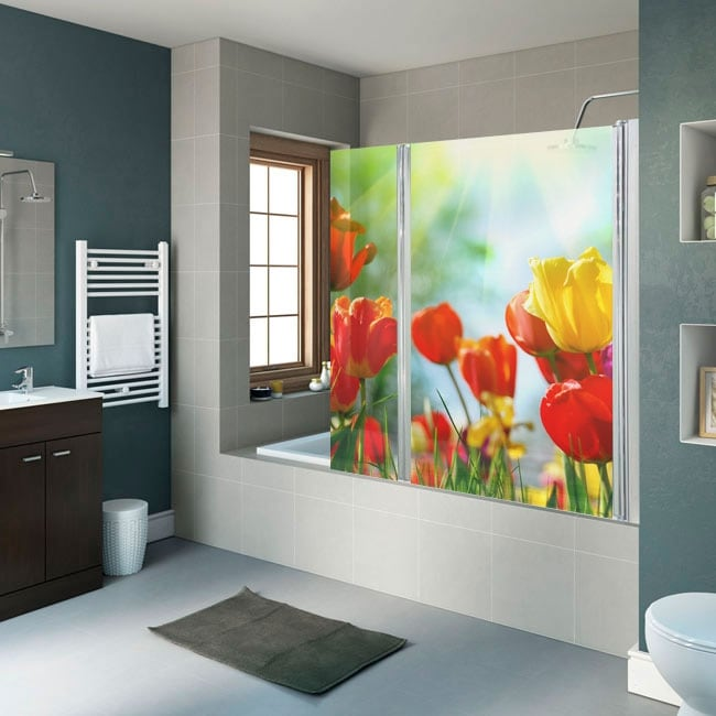 Vinyls for bathroom screens flowers tulips