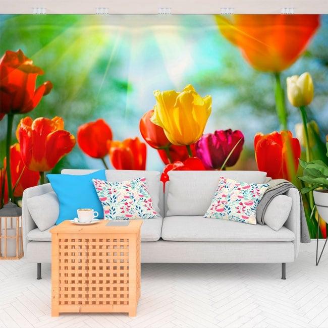 Vinyl wall murals tulips flowers