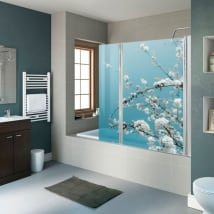 Vinyls for bathroom screens cherry blossoms