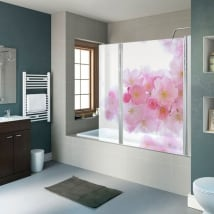 Vinyl bathroom screens japanese cherry blossom