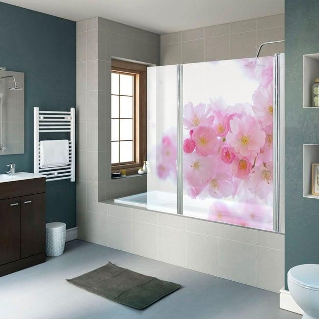 Vinyl bathroom screens japanese cherry blossom