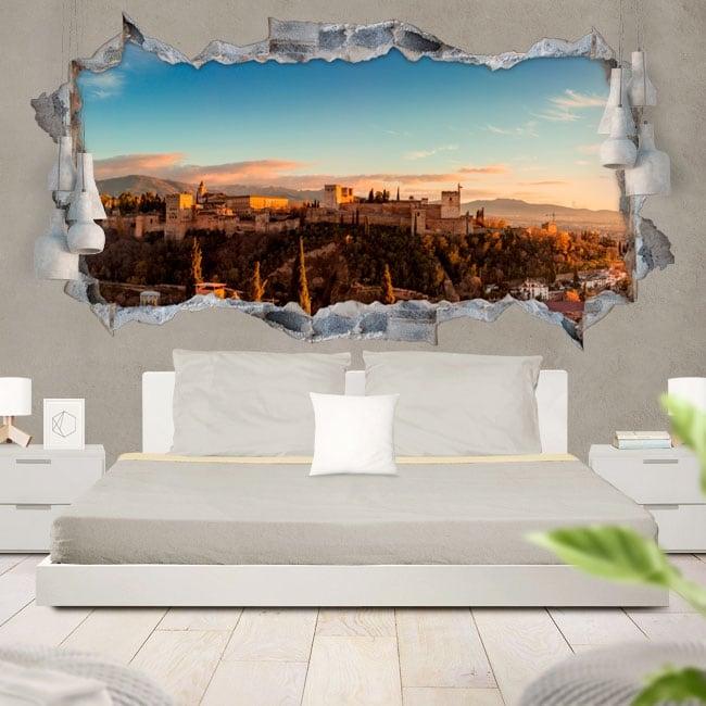 Decorative vinyl 3d panoramic the alhambra granada