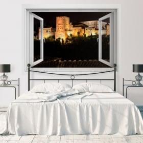 Vinyl windows 3d the alhambra of granada spain