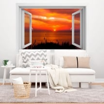 Decorative vinyl windows sunset 3d