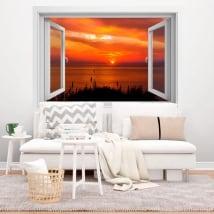 Decorative vinyl windows sunset 3d