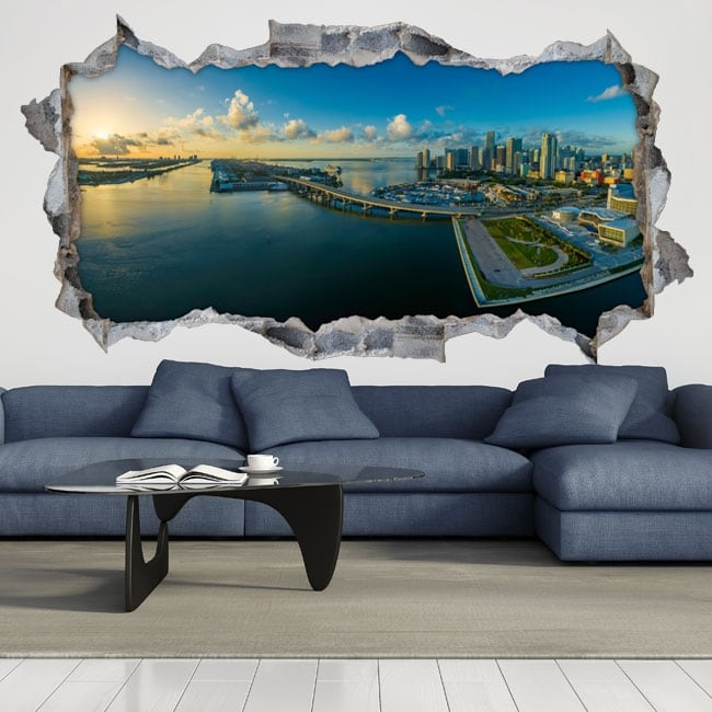 Decorative vinyl 3d panoramic of miami florida