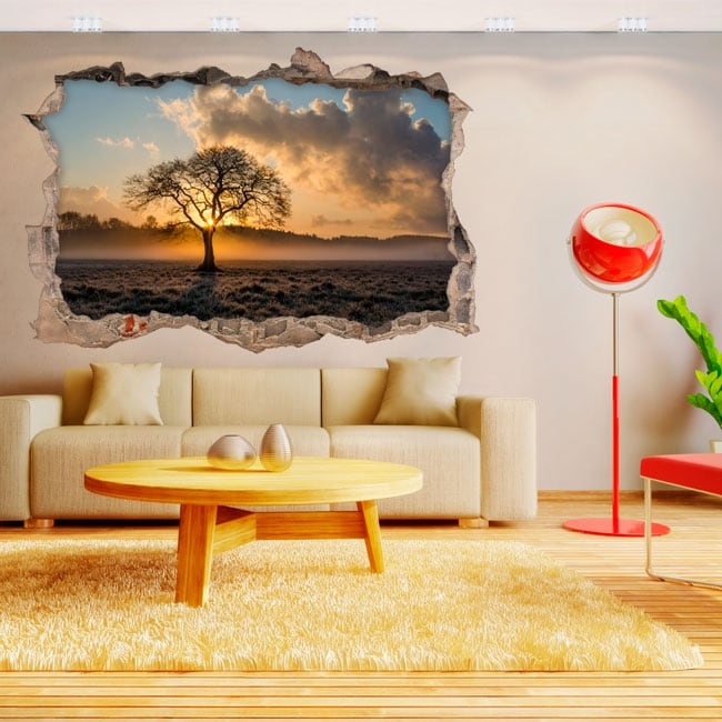 Vinyl stickers 3d tree and sunset