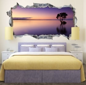 Vinyl hole wall panoramic tree cherry blossom 3d