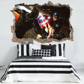 Vinyl wall hole 3D Captain America civil war