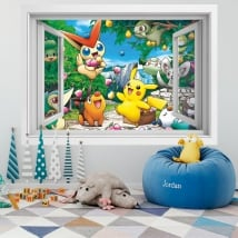 Vinyl walls 3d window pikachu