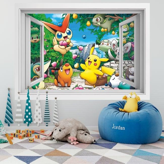 Vinyl walls 3d window pikachu
