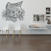 Vinyl stickers tribal cat head