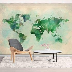 Wall murals of decorative vinyl watercolor world map