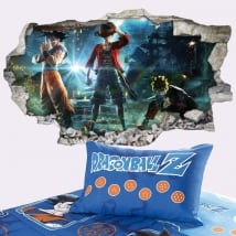 Wall murals goku naruto and luffy jump force 3d