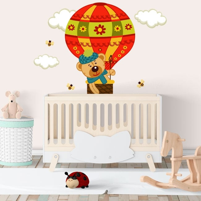 Vinyl and stickers children the flight of the bear in a balloon
