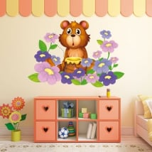 Vinyl stickers for children bear and flowers
