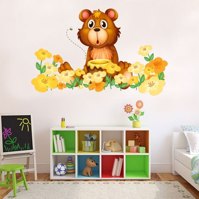 Vinyl children or youth bear and flowers