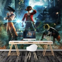 Wall murals goku naruto and luffy jump force