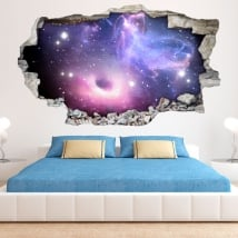 Stickers 3d black hole and nebula with stars