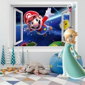 Vinyl and stickers window 3d super mario bros