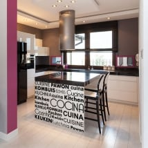 Decorative vinyl kitchen in several languages
