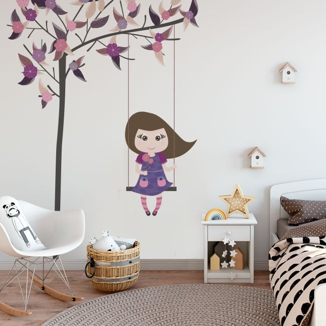 Decorative vinyl and stickers swing on the tree