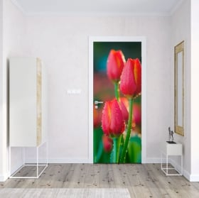Vinyl and stickers for doors flowers tulips