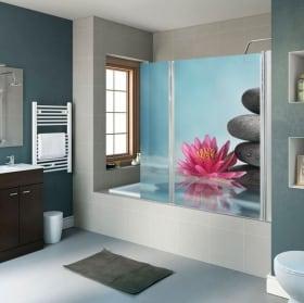 Decorative vinyl bathroom screens lotus flower