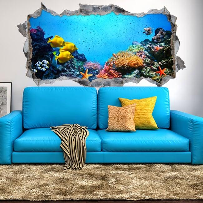 Decorative vinyl and stickers 3d sea world