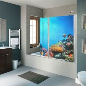 Vinyl shower screens fish and coral reef