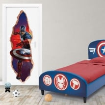 Vinyl marvel doors 3d captain america