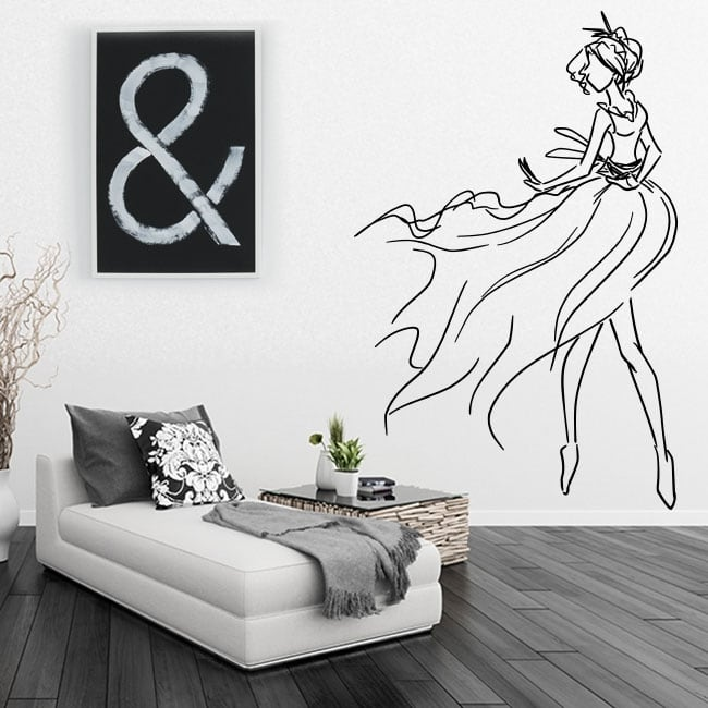 Decorative vinyl and stickers woman silhouette