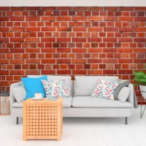 Wall murals of vinyl with bricks