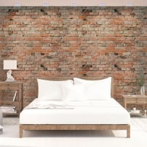 Wall murals of adhesive vinyl with bricks
