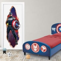 Vinyl for doors 3d marvel captain america