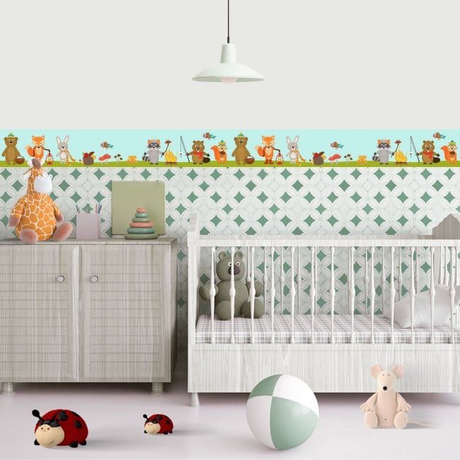 Vinyl and stickers for children border with animals