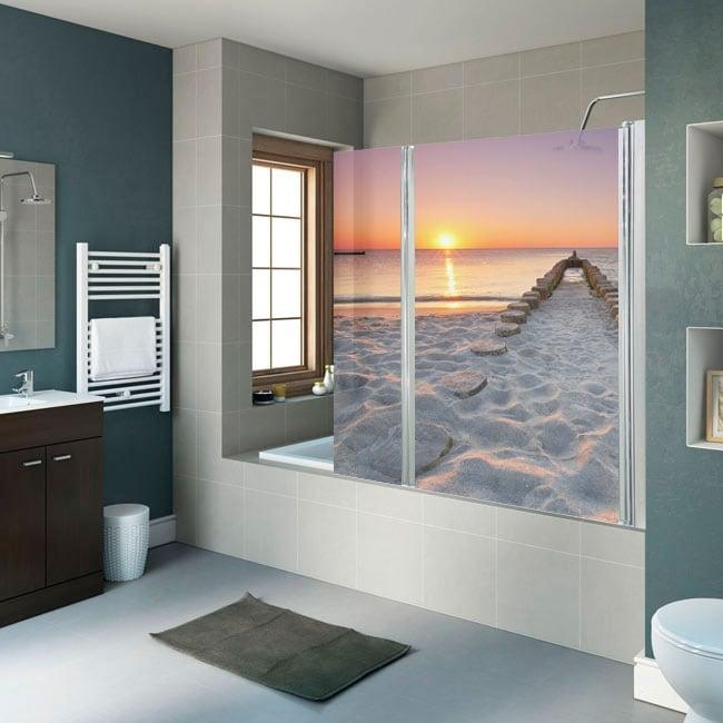Decorative vinyl screens bathrooms beach at sunset