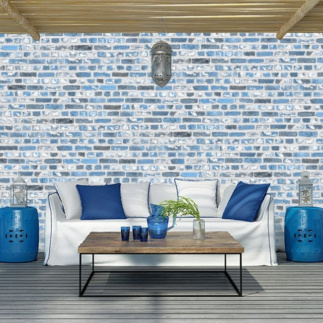 Wall murals of vinyl with blue bricks