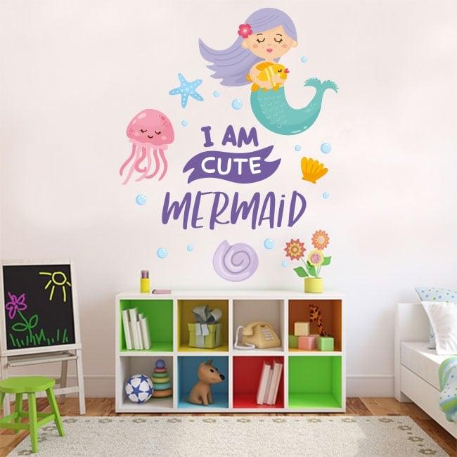 Decorative vinyl and children's stickers little mermaid phrase