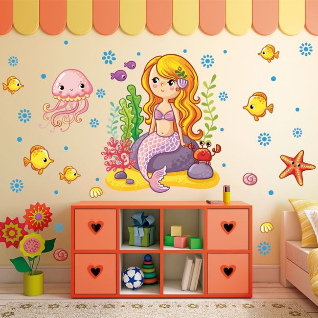 Vinyl stickers for children or youth mermaid