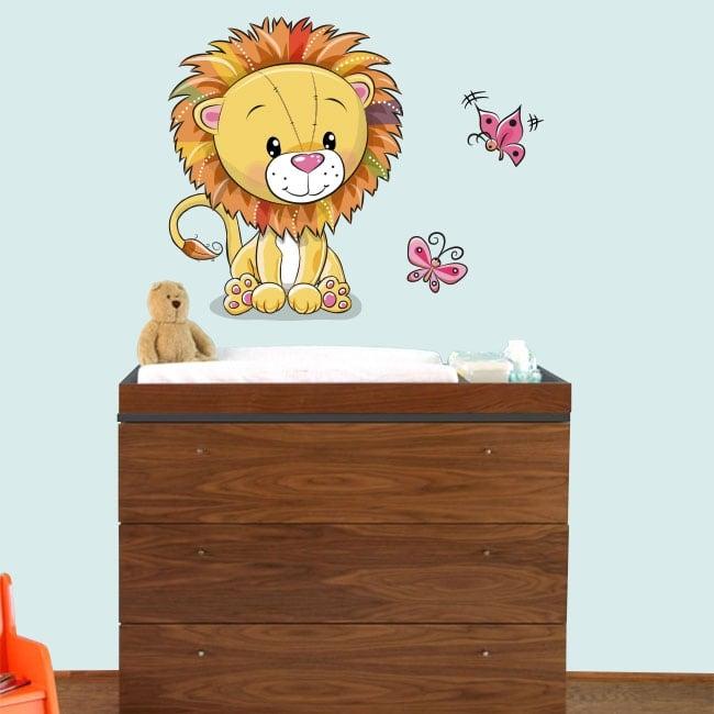 Baby or children's vinyl lion and butterflies
