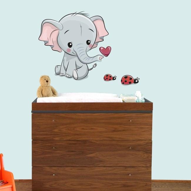 Vinyl children or baby elephant and ladybirds